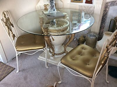 italian glass Dining table & chairs. Romany style, coffee table, lamp and stand.