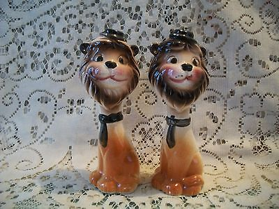 Vintage Salt & Pepper Shakers Leo The Lion 15 cm H Made In Japan