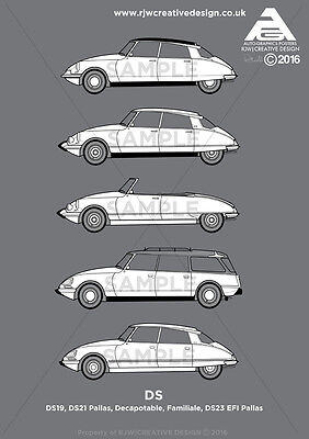 Citroen DS (DS19, DS21 Pallas, Decapotable, Break, 23EFI) A3 Poster Print