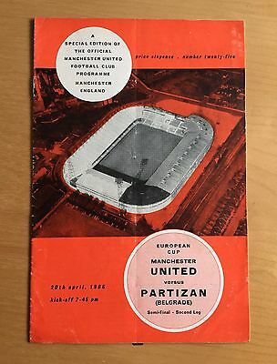 MANCHESTER UNITED v PARTIZAN Belgrade : European Cup Semi Final 20/4/1966