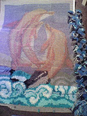 """Caron - DOLPHINS - Latch Hook Kit  27"""" x 40"""" (Part worked)"""