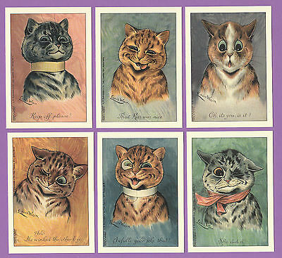 Cats - Crystal  Cat  Cards - Set Of 6 Louis Wain Cat Cards -  Purr-Fect Reaction