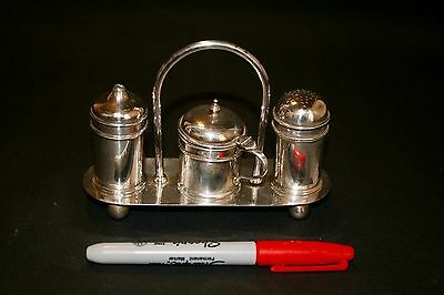 Silver Plated Condiment Set Salt Mustard And Pepper Plus Stand