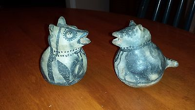 pair of Late 19th century native american Tesuque pottery desert animal figures