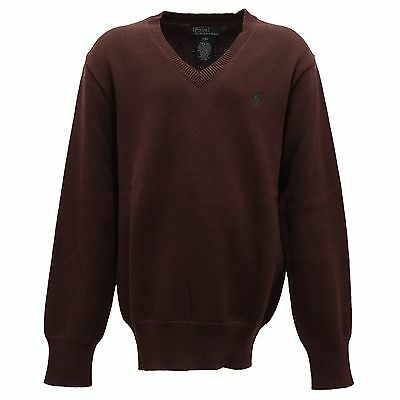 9268R maglione bimbo RALPH LAUREN cotone marrone sweater cotton kid