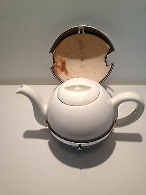 Vintage Ceramic Teapot & Insulated Chrome Cover with Hinged Clasp & Resin Feet