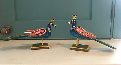 A pair of Indian handmade and hand painted Peacocks
