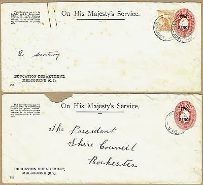 Australia Stationery Official 1930 2d on 1½d KGV STO Envelope (2, one uprated)