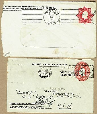 Australia Stationery 1917 and 1934 KGV STO Envelope Official use (2)