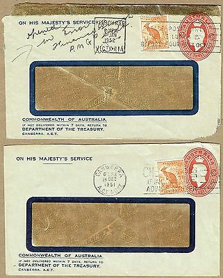 Australia Stationery 1950 3d KGV Oval STO Envelope Official uses uprated (2)
