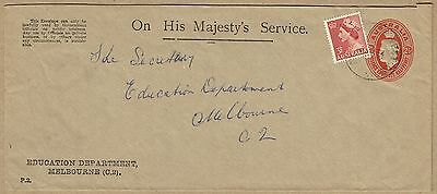 Australia Stationery 1941 2½d KGVI Oval Envelope Official use uprated 1954 to 6d
