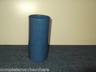 Mottled medium Blue Pottery Vase made in England unsure of maker No. 65A