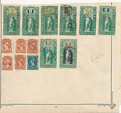 Canada stamp  queen Victoria 1864 Quebec revenue official stamps on album page