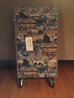 Betty Boop Fold Up Tote Bag On Wheels! Folds Up Flat! NWT! Awesome! Biker Betty
