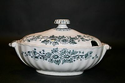 Antique Pottery China Lidded Soup Tureen Small
