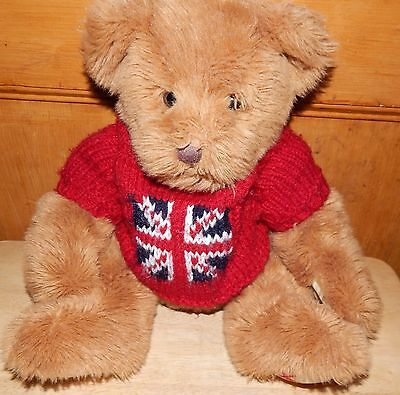 Harrods  Sitting Teddy In Union Jack Jumper