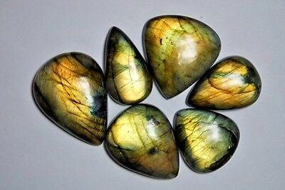 SET OF 6 FIERY LABRADORITE CABOCHONS, one of a kind with good fire.