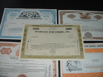 SCRIPOPHILY (K2) VINTAGE CERTIFICATES,  5 DIFFERENT U.S.A.  SHARE / STOCK BONDs