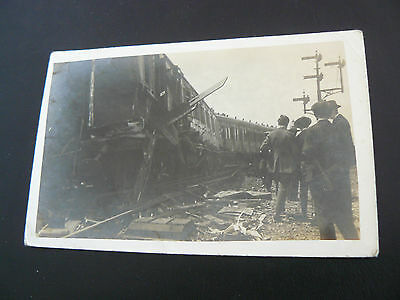 Real Photo RP Postcard by C E May of Reading - Train Accident - Railway