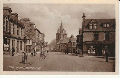 Early INVERKEITHING High Street - shops, church, people, published by Hislop