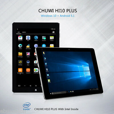 "10.8"" Tablet PC Windows10 Android5.1 4Core 4GB/64GB HDMI CHUWI Hi10 Plus 2Cámara"
