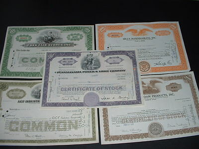 SCRIPOPHILY (K3) VINTAGE CERTIFICATES,  5 DIFFERENT U.S.A.  SHARE / STOCK BONDs