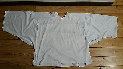White CCM Goaltending Ice Hockey Practice Jersey Goalie Cut Goal SR