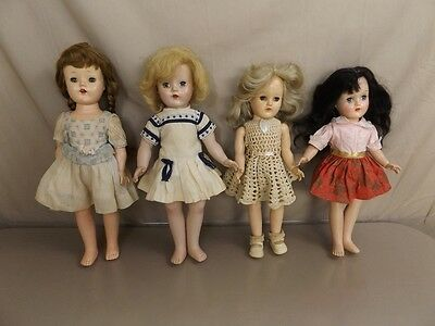 4 Vintage Hard Plastic Made in the USA and Toni Dolls Doll Lot Blonds Clothes