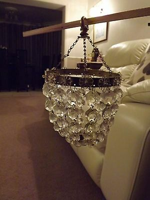Antique? French Lead Crystal and Brass Basket Chandelier
