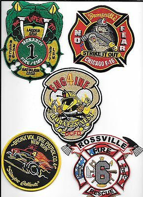 5 New Fire Patches - Set # 632   fire patch