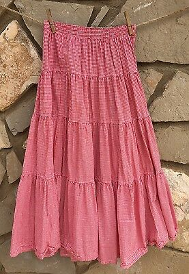 Vintage Willowbend Skirt Red White Gingham Full Western Rodeo Prairie Size M