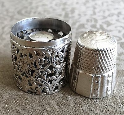 Antique Sterling Silver Thimble and Thimble Holder