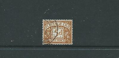 D52, QEII EDWARD CROWN WATERMARK POSTAGE DUE 5d VERY FINE USED