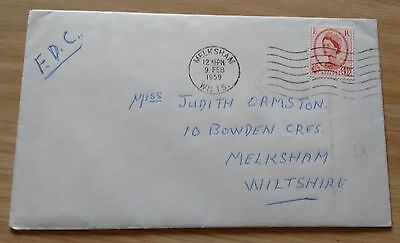 GB QEII 1959 4½d Machin definitive FDC - Melksham postmark + wavy cancel