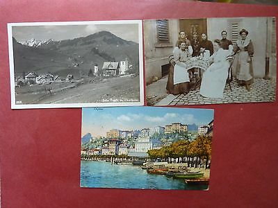3 Collectable Vintage Used Post  Cards From Switzerland