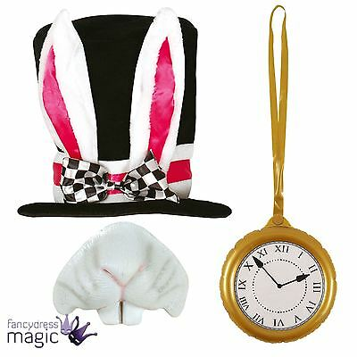 Black Top Hat White Rabbit Alice Mad Hatter Fancy Dress Outfit Kit Accessory Lot