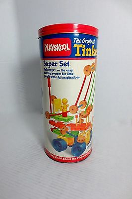 Playskool 1986 Wooden Super Set Tinker Toy Original with Can