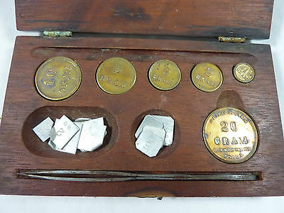 Troemner Brass Coin Style Weights in Wooden Box 1 to 20 Gram + Aluminum MG