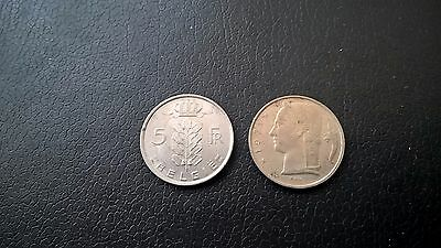 Two 5 franc coins from Belgium of 1975 & 1971 - Fair Condition. Collectable.