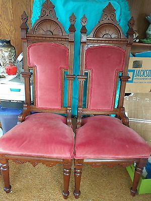 Two Victorian Carved Throne Chair Pair Masonic Or Church Dining Chairs C 1900