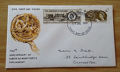 GB QEII 1965 750th Anniversary of Parliament illustrated FDC - Gloucester FDI