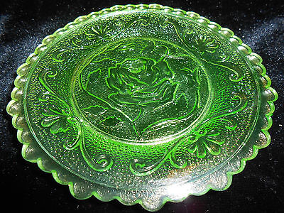 Green Vaseline Rose pattern glass plate uranium jewelry tray pin Flowers floral