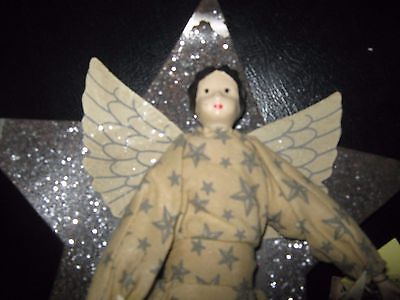 NWT ANGEL CHRISTMAS TREE TOPPER CERAMIC DOLL Bronze Color Metal Star Banner