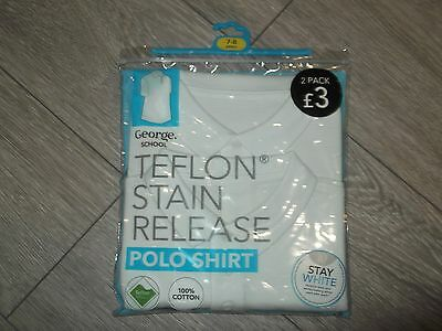 brand new 2 pack of white polo shirts aged 7-8