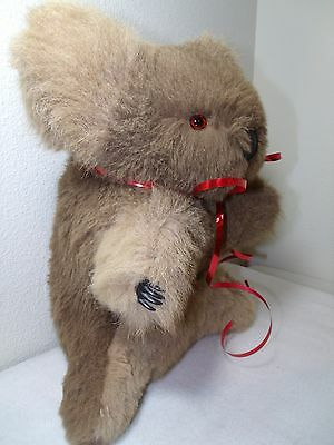 "Vintage Antique Glass Eyes LARGE 15"" Real Fur Koala Plush Stuffed Bear VERY SOFT"