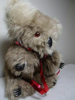 "Vintage Antique Glass Eyes CUTE 8"" Real Fur Koala Plush Stuffed Bear VERY SOFT"