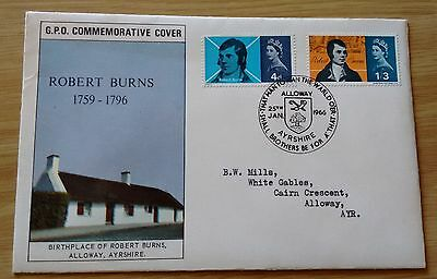 GB QEII 1966 Robert Burns (ord) illustrated FDC, Alloway special HS, GPO insert