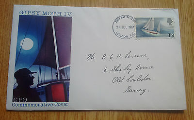 GB 1967 Sir Francis Chichester's Gipsy Moth IV illustrated FDC, London E.C. FDI