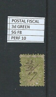 1867 TASMANIA POSTAL FISCAL STAMPS 3d GREEN PERF 10
