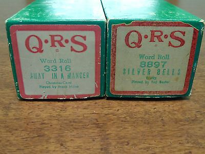 Vintage Christmas QRS Player Piano Rolls Silver Bells Away In A Manger Lot of 2